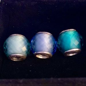 Petite Facets Murano Pandora Charms —3 Different
